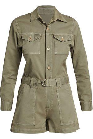 Jonathan Simkhai Standard Women Swimsuits - Women's Darcy Cotton Twill Cargo Romper - Eucalyptus - Size Small
