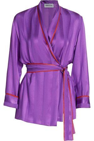 Adriana Iglesias Women Tops - Women's Waldorf Piped Silk Pajama Top - Shadow - Size 4