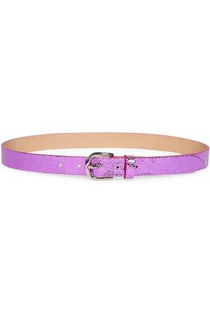 Isabel Marant Women Belts - Women's Zap Exotic Snake-Print Metallic Leather Belt - Fuchsia - Size Small