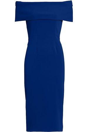 Catherine Regehr Women's Off-The-Shoulder Core Crepe Cocktail Dress - Royal - Size 4