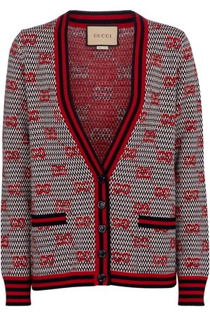 Gucci GG jacquard lamé and wool cardigan