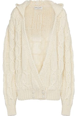 Saint Laurent Women Hoodies - Cable-knit hooded cardigan