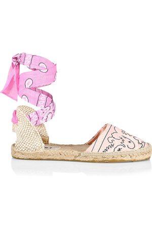 MANEBI Women Espadrilles - Women's Valenciana Bandana Ankle-Wrap Espadrille Flats - Rose Blush - Size 9