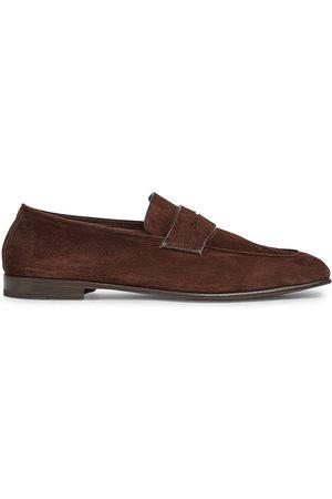 Ermenegildo Zegna Men Loafers - Men's Lasola Suede Moccasins - - Size 11