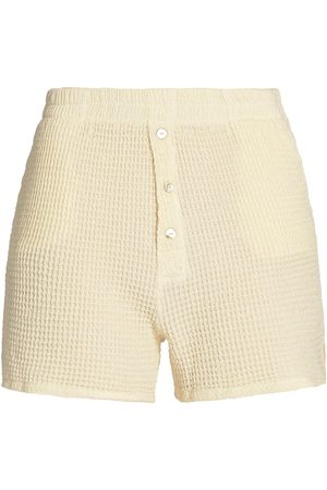 Donni Women Shorts - Women's Waffle Knit Shorts - Creme - Size Large