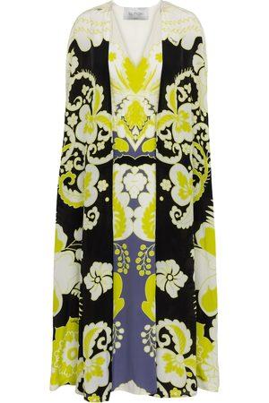 VALENTINO Caped floral silk midi dress