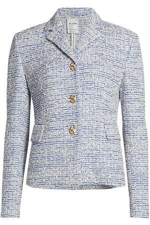 ST. JOHN Women Knitted Dresses - Women's Bouclé Grid Knit Jacket - Ecru - Size 14