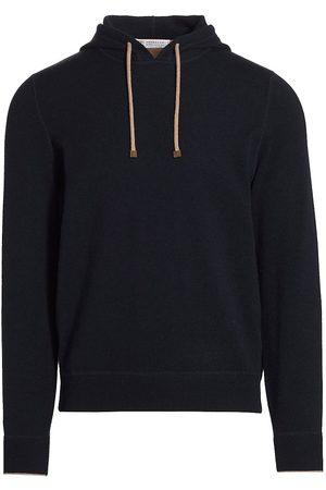 Brunello Cucinelli Men's Cashmere Hoodie - Navy - Size 42