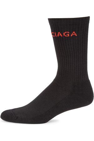 Balenciaga Men's Logo Tennis Socks - Lead - Size Large