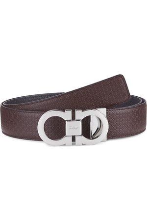 Salvatore Ferragamo Men's Reversible Gancini Buckle Embossed Leather Belt - Tobacco - Size 32