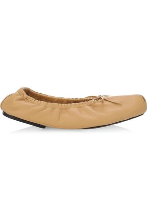 Khaite Women's Ashland Square-Toe Leather Ballet Flats - Tan - Size 8.5