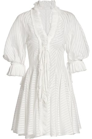 UNTTLD Women's Antoinette Sheer Striped Ruffle-Trim Dress - Off - Size 2
