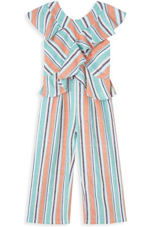 HABITUAL Girls Jumpsuits - Little Girl's Stripe Ruffle Wrap Jumpsuit - Stripe - Size 6