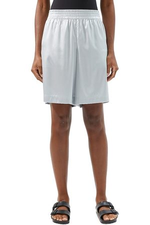 Helmut Lang Women Shorts - Women's Stretch-Silk Basketball Shorts - Mechanical Grey - Size XS