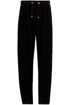 Balmain Men Pants - Men's Monogram Velvet Sweatpants - Noir - Size XL
