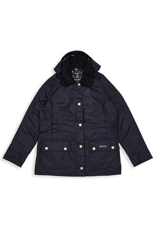 Barbour Girls Outdoor Jackets - Little Girl's and Girl's Hooded Beadnell Wax Jacket - Navy - Size 6