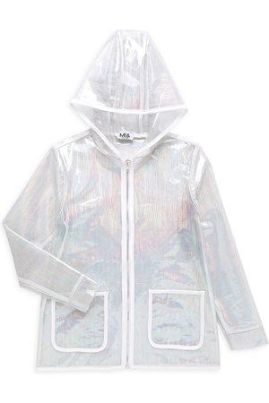MIA NEW YORK Girls Rainwear - Girl's Holographic Raincoat - Clear - Size 7