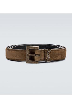 Saint Laurent Men Belts - Monogrammed suede belt