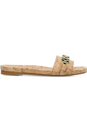 VERONICA BEARD Women's Eni Chain-Trimmed Cork Slides - Natural - Size 8.5 Sandals
