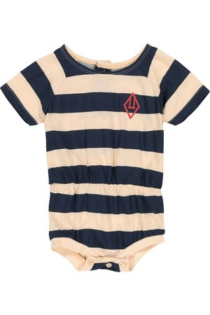 The Animals Observatory Rompers - Baby Rabbit striped cotton bodysuit