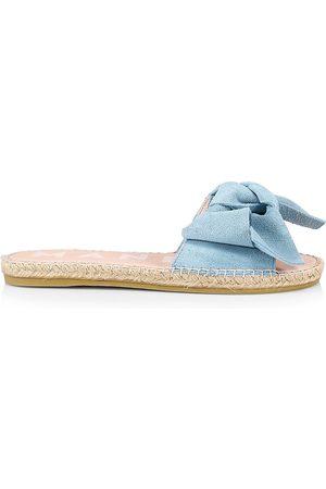 MANEBI Women's Suede Bow Espadrille Sandals - Placid - Size 8