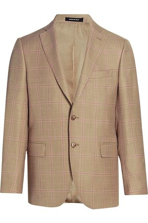 Saks Fifth Avenue Men Blazers - Men's COLLECTION Check Sportcoat - Tan - Size 38