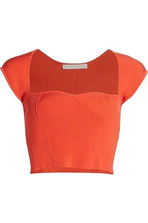 JONATHAN SIMKHAI Women's Abia Compact Rib Cropped T-Shirt - Poppy - Size Large