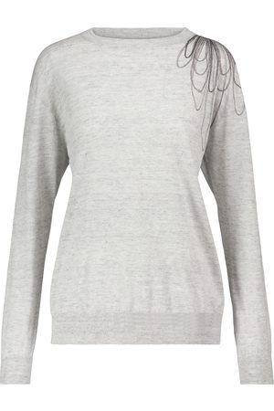 Brunello Cucinelli Embellished linen and cotton sweater
