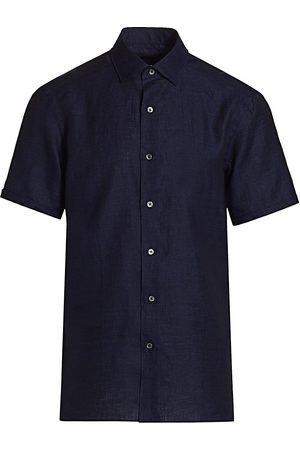 Ermenegildo Zegna Men's Short-Sleeve Linen Sport Shirt - Navy - Size XXL