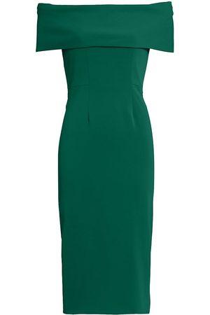 Catherine Regehr Women's Off-The-Shoulder Core Crepe Cocktail Dress - Emerald - Size 6