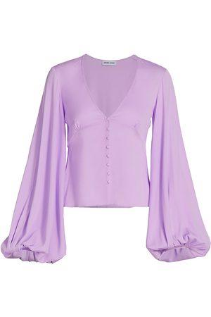 Adriana Iglesias Women Blouses - Women's Inma Stretch-Silk Button Blouse - Rose Silk Satin - Size 4