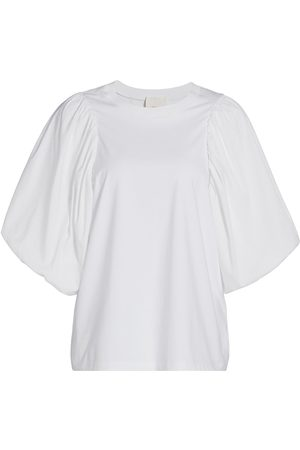 Cinq A Sept Women's Moda Mixed-Media Puff-Sleeve Top - - Size Medium