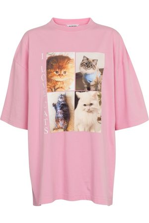 Balenciaga Cat-print oversized cotton T-shirt