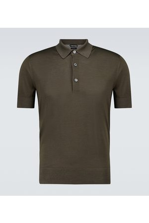 Tom Ford Men Polo Shirts - Short-sleeved silk polo shirt