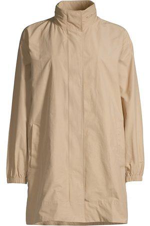 Eileen Fisher Women's Stand Collar Longline Coat - Khaki - Size XXS