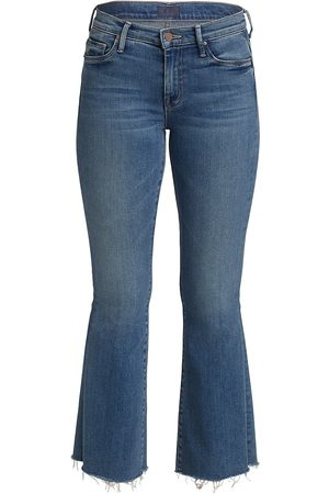 Mother Women High Waisted - Women's The Weekender High-Rise Flare Fray Hem Jeans - Hop On Hop Off - Size Denim: 32