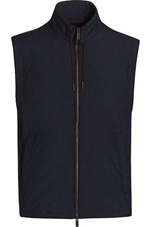 Ermenegildo Zegna Men Gilets - Men's Full-Zip Nylon Vest - Navy Solid - Size 44