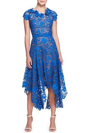 Marchesa Women Midi Dresses - Women's Lace Handkerchief Hem Midi Dress - Lapis - Size 12