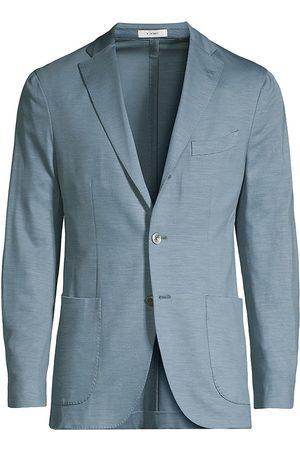 Boglioli Men Denim Jackets - Men's Virgin Wool Knit Jersey Sportcoat - Denim - Size 40