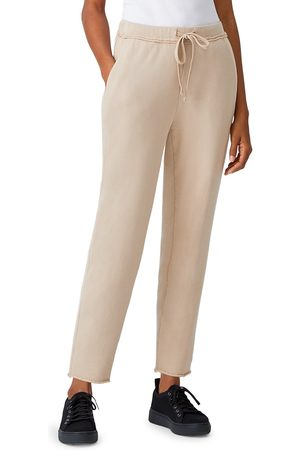 Eileen Fisher Women Sweatpants - Women's Organic Cotton Ankle Joggers - Khaki - Size Large