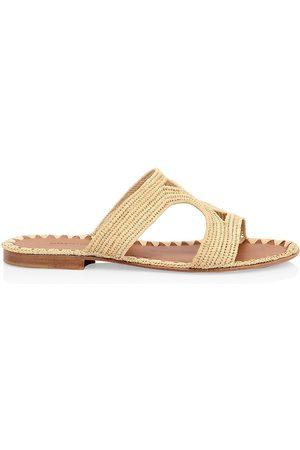 Carrie Forbes Women Sandals - Women's Raffia Cutout Slides - Natural - Size 6 Sandals