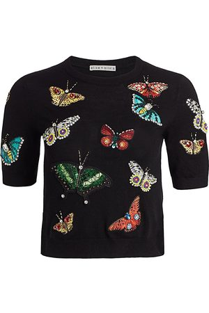 ALICE+OLIVIA Women Hoodies - Women's Ciara Butterfly Embroidered Sweater - Multi - Size XS