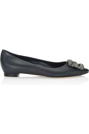 Manolo Blahnik Women Flat Shoes - Women's Hangisi 25 Embellished Leather Flats - Navy - Size 10.5
