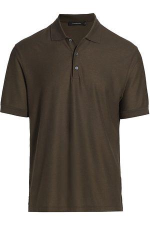 Ermenegildo Zegna Men Polo Shirts - Men's Classic Cotton & Silk Polo - Dark Solid - Size 48
