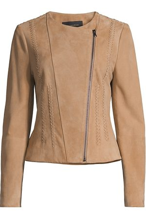 Kobi Halperin Women Leather Jackets - Women's Serena Suede Moto Jacket - Sand - Size XL