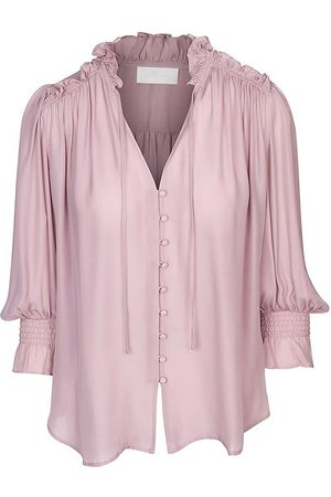 7 for all Mankind Women's Ruffle Neck Silk-Blend Top - Soft Berry - Size Small