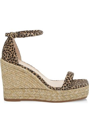 Stuart Weitzman Women's Nudist Leopard-Print Espadrille Wedge Sandals - Cheetah - Size 8