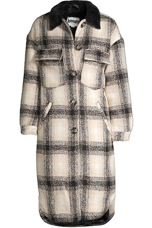 Apparis Women's James Plaid Faux Fur Collar Coat - Noir Plaid - Size Small