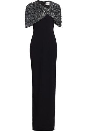 Pamella Roland Women Evening dresses - Women's Sequin Cape Column Gown - Gunmetal - Size 10