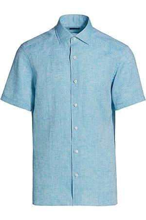 Ermenegildo Zegna Men Short sleeves - Men's Short-Sleeve Linen Sport Shirt - Aqua - Size XXL